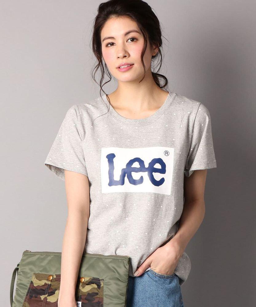 Lee ドットプリント&ロゴ半袖Tシャツ レディース グレー