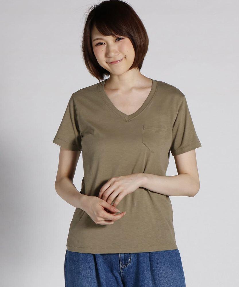 BACK NUMBER オーガニックスラブポケット付きVネックTシャツ レディース カーキ