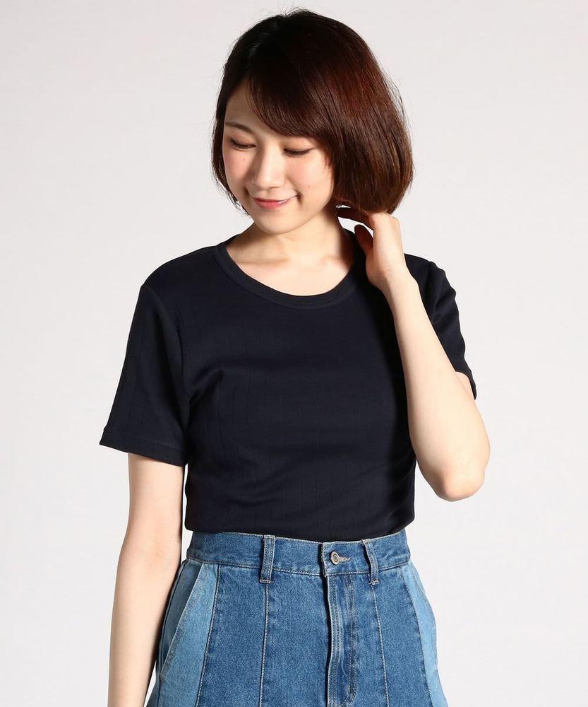 BACK NUMBER オーガニックコットンワイドリブ半袖Tシャツ レディース ネイビー