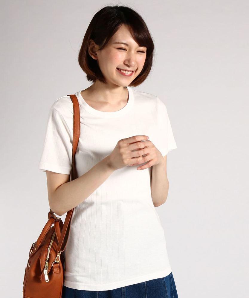 BACK NUMBER オーガニックコットンワイドリブ半袖Tシャツ レディース オフシロ