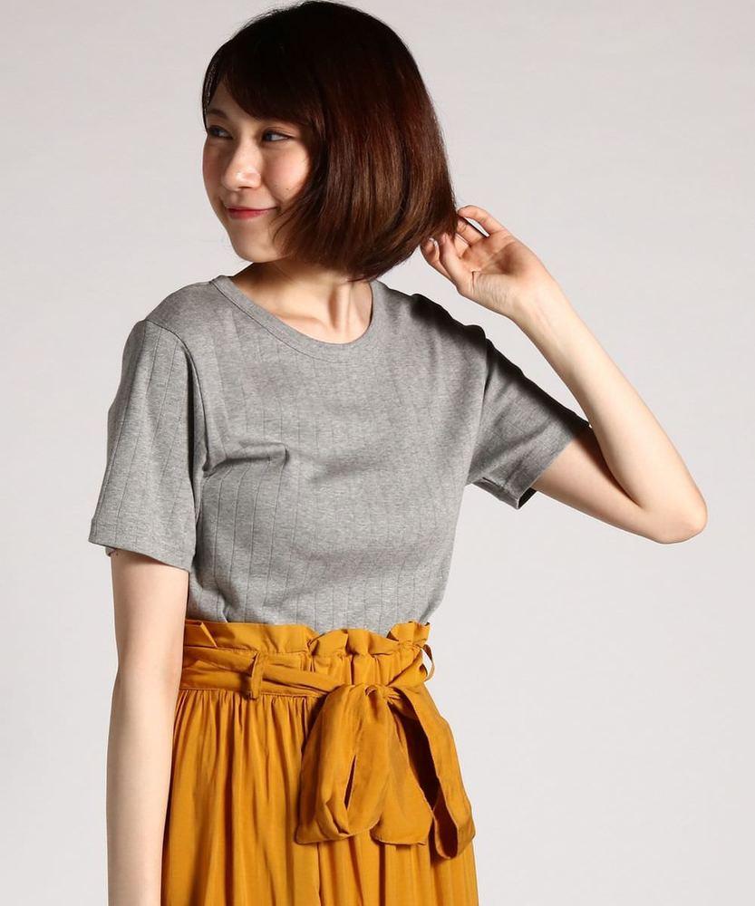 BACK NUMBER オーガニックコットンワイドリブ半袖Tシャツ レディース グレー