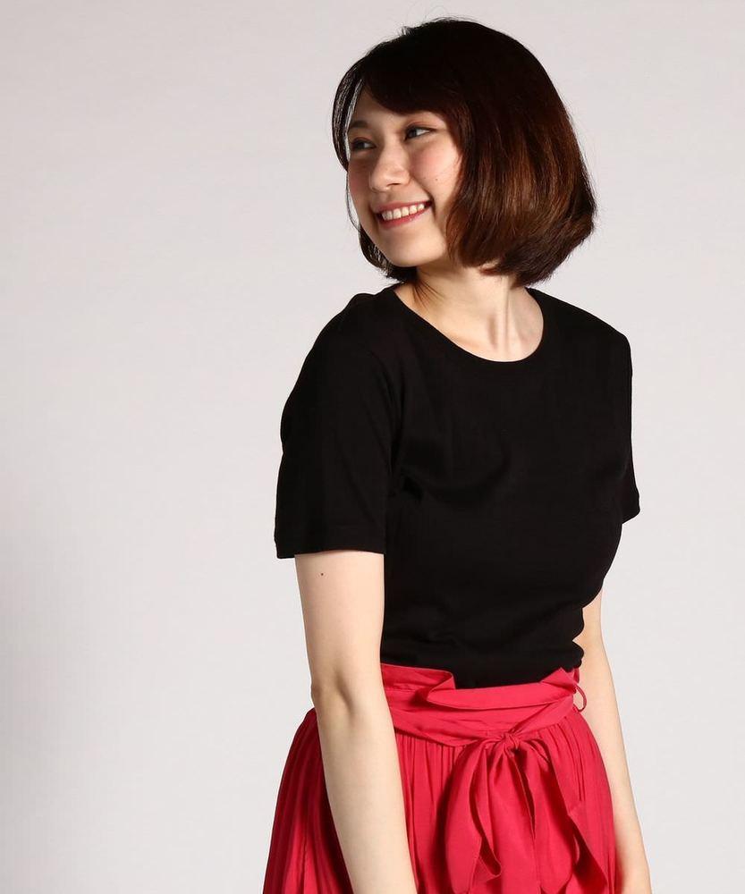 BACK NUMBER オーガニックコットンワイドリブ半袖Tシャツ レディース ブラック