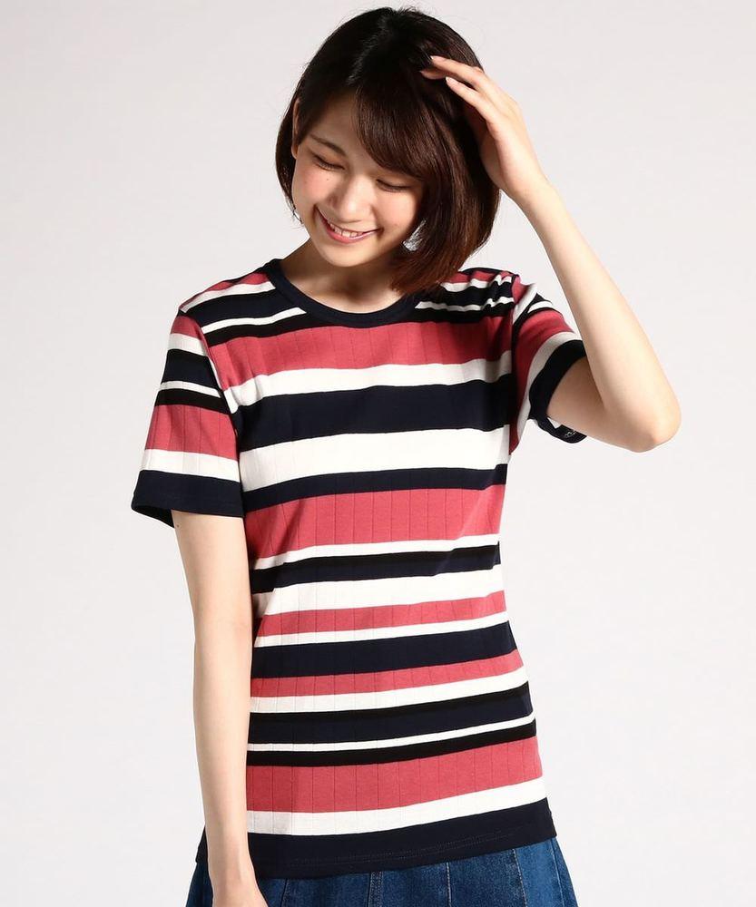 BACK NUMBER オーガニックコットンワイドリブ半袖Tシャツ レディース レッド*ブラック