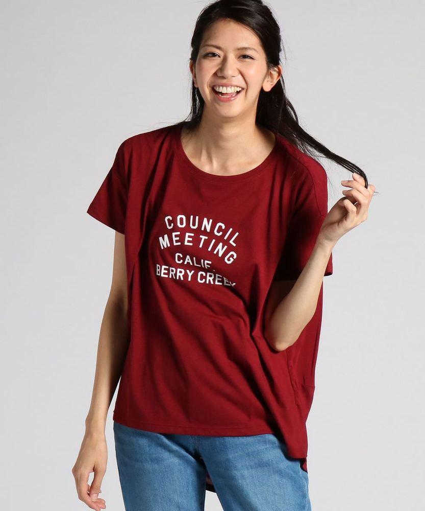 BACK NUMBER 異素材切り替えヘムアメカジロゴプリントTシャツ レディース レッド