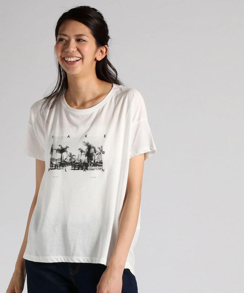 BACK NUMBER 異素材切り替えヘムアメカジロゴプリントTシャツ レディース ホワイト