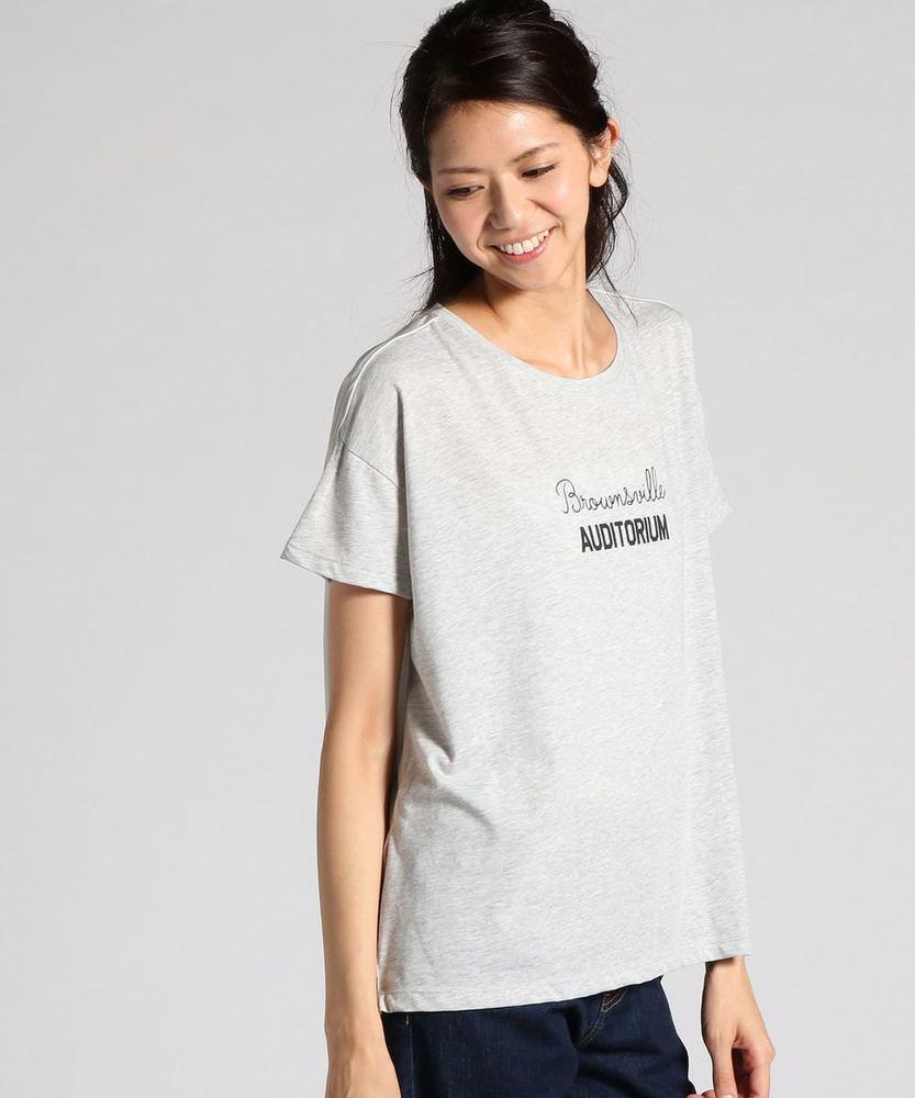 BACK NUMBER 異素材切り替えヘムアメカジロゴプリントTシャツ レディース グレー