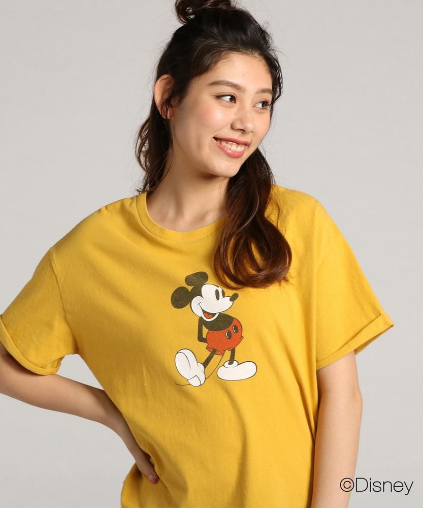 DISNEY ディズニーデザイン プリントTシャツ レディース イエロー