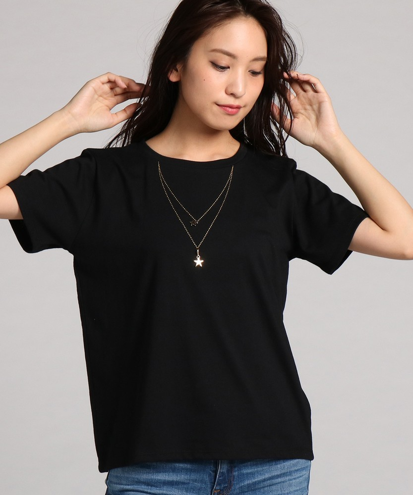 BACK NUMBER スターモチーフTシャツ レディース ブラック