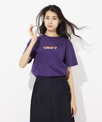 CAMP7 配色ロゴプリントTシャツ レディース パープル