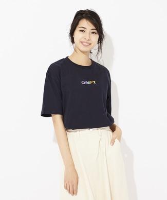 CAMP7 多色ロゴプリントTシャツ レディース ネイビー