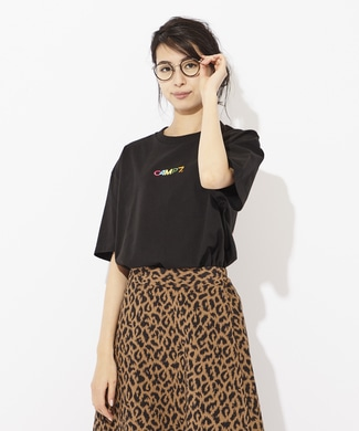 CAMP7 多色ロゴプリントTシャツ レディース ブラック