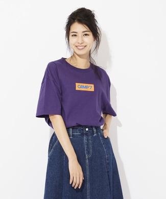 CAMP7 ボックスロゴプリントTシャツ レディース パープル