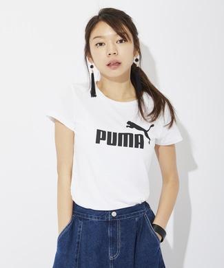 PUMA ロゴプリントTシャツ レディース ホワイト