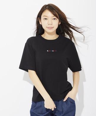 KANGOL 色刺繍Tシャツ レディース ブラック