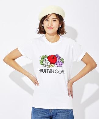 FRUIT OF THE LOOM カラープリントTシャツ レディース ホワイト