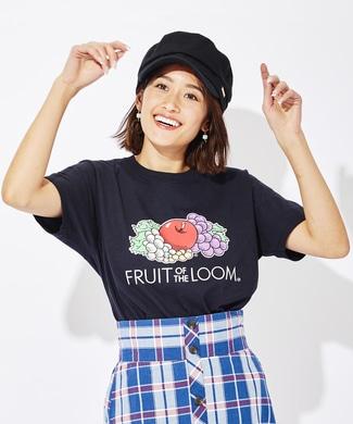 FRUIT OF THE LOOM カラープリントTシャツ レディース ブラック