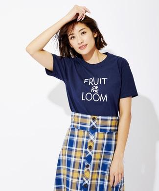 FRUIT OF THE LOOM ロゴプリントTシャツ レディース ネイビー