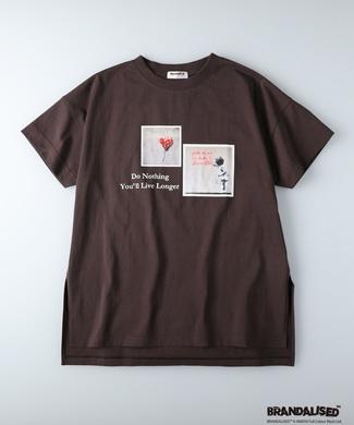 BRANDALISED エンボスプリントTシャツ バンクシー ブラウン