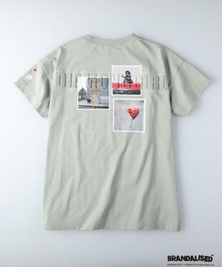 BRANDALISED エンボスプリントTシャツ バンクシー グリーン