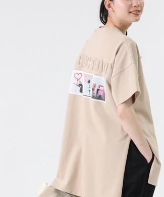 BRANDALISED エンボスプリントTシャツ バンクシー ベージュ