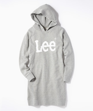 Lee 【期間限定スウェット2枚目半額 】ロゴスウェットパーカーワンピース レディース グレー