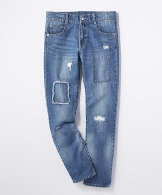 BACK NUMBER リペアタイトストレートパンツ(ジュニアサイズ150-160cm) キッズ 中濃色