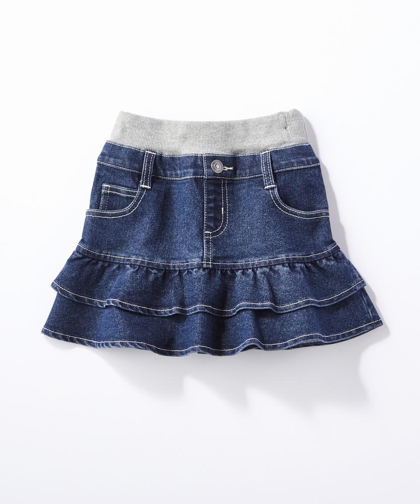 MPS(160) (BS)デニムティアードスカート(ジュニアサイズ160cm) キッズ 中濃加工色