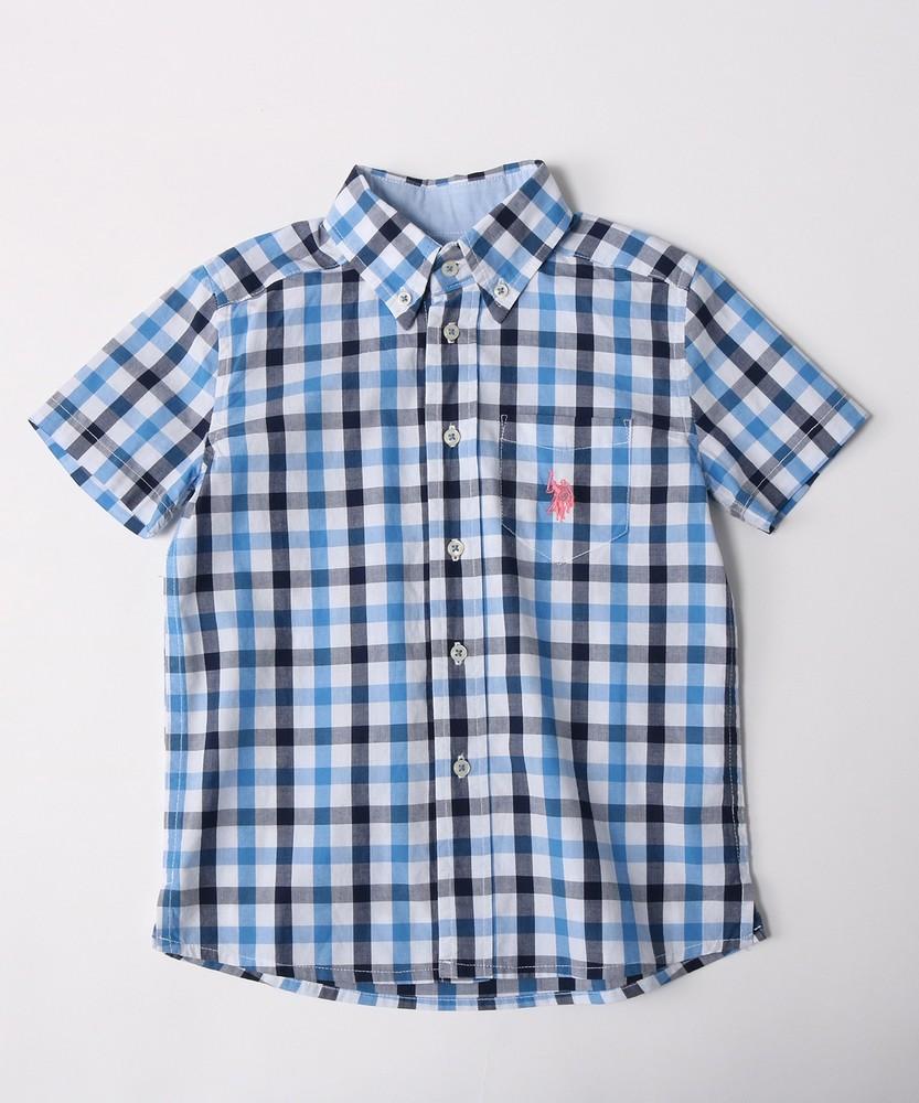 U.S.POLO ASSN 半袖チェックシャツ(150・160cm) キッズ ブルー