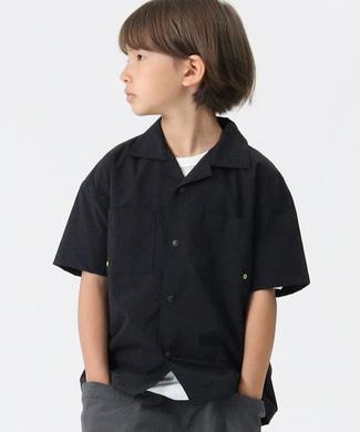 CAMP7 オープンカラーシャツ ブラック