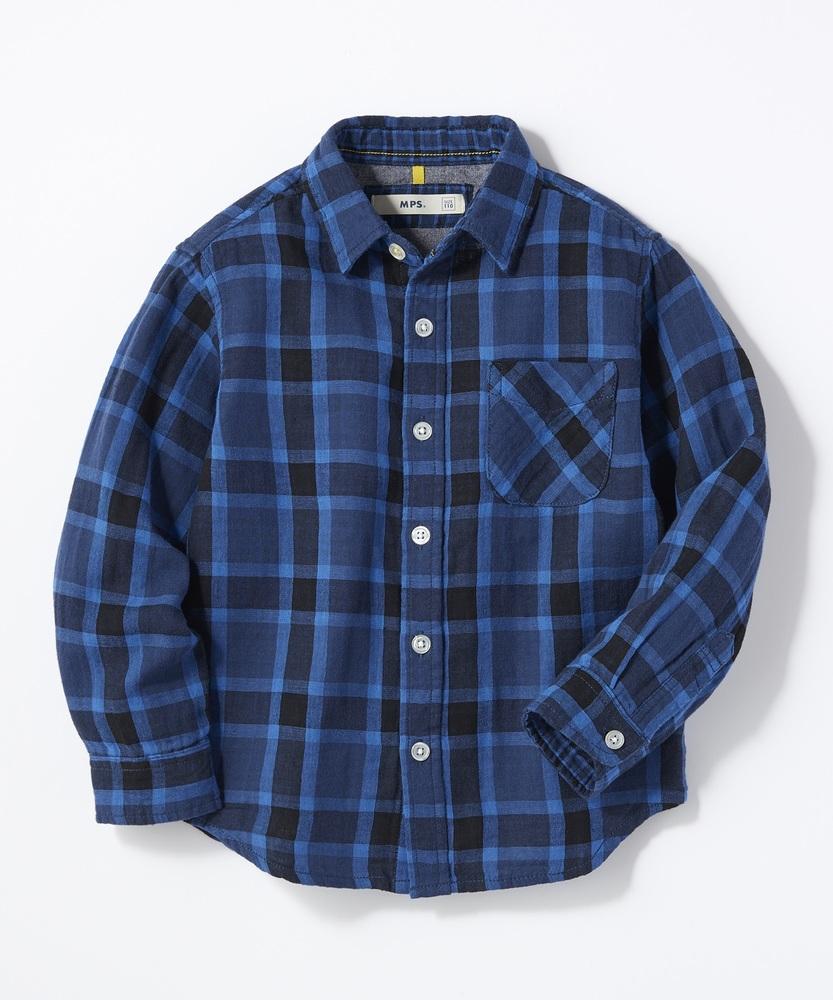MPS(160) ダブルガーゼチェックシャツ(ジュニアサイズ160cm) キッズ ブルー
