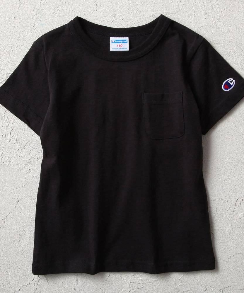 Champion ポケつきTシャツ キッズ ブラック