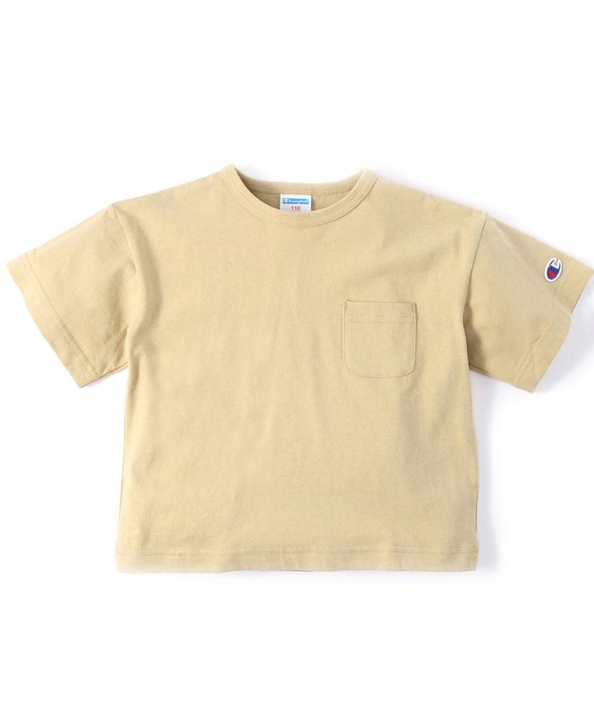 Champion ビッグシルエットポケット付き半袖Tシャツ キッズ ベージュ