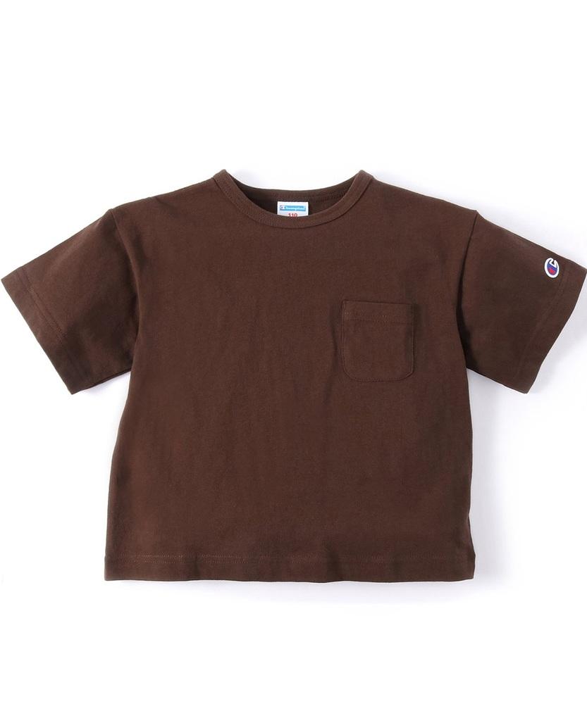 Champion ビッグシルエットポケット付き半袖Tシャツ キッズ ダークブラウン
