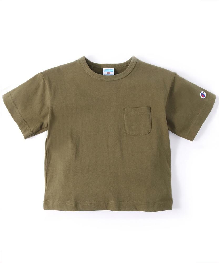 Champion ビッグシルエットポケット付き半袖Tシャツ キッズ カーキ