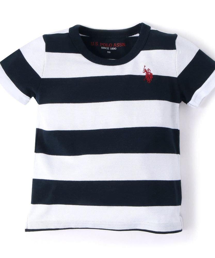 U.S.POLO ASSN ボーダー柄カノコ半袖Tシャツ キッズ ネイビー