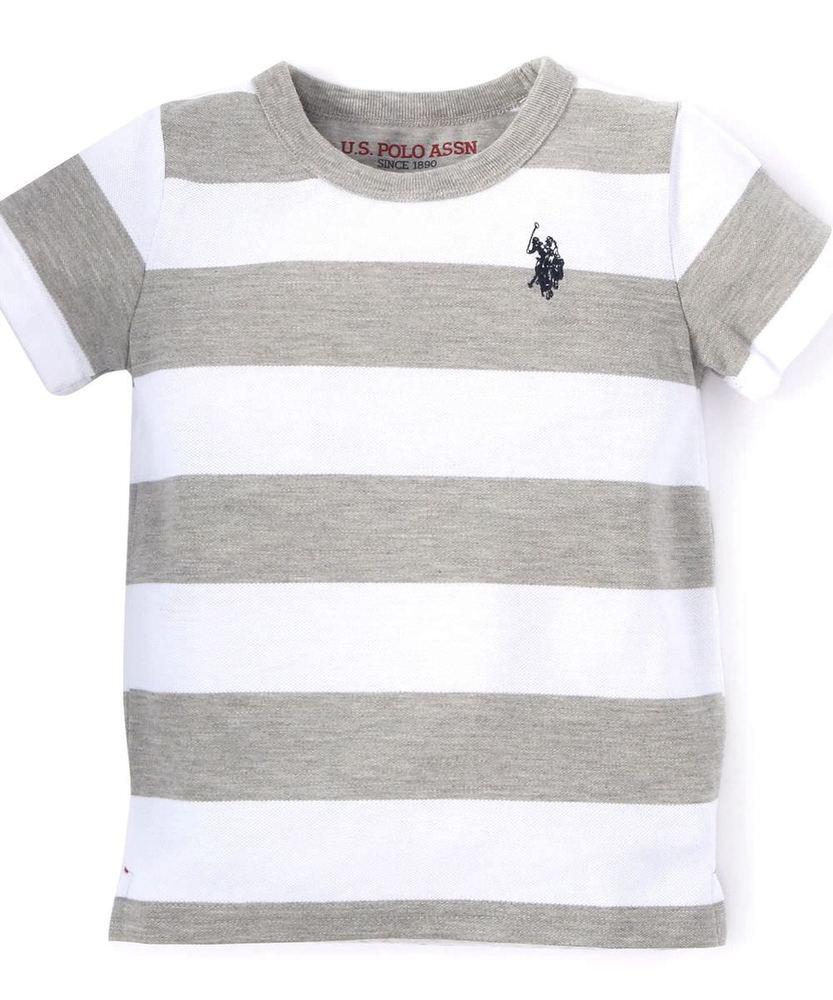 U.S.POLO ASSN ボーダー柄カノコ半袖Tシャツ キッズ グレー