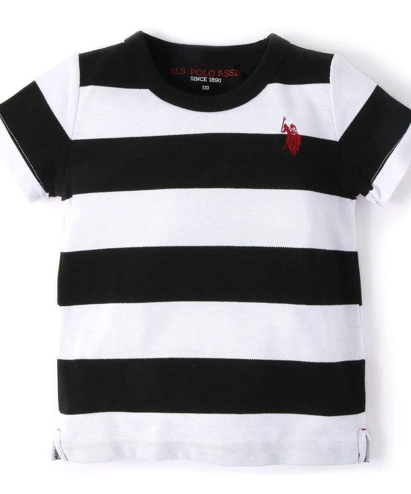U.S.POLO ASSN ボーダー柄カノコ半袖Tシャツ キッズ ブラック