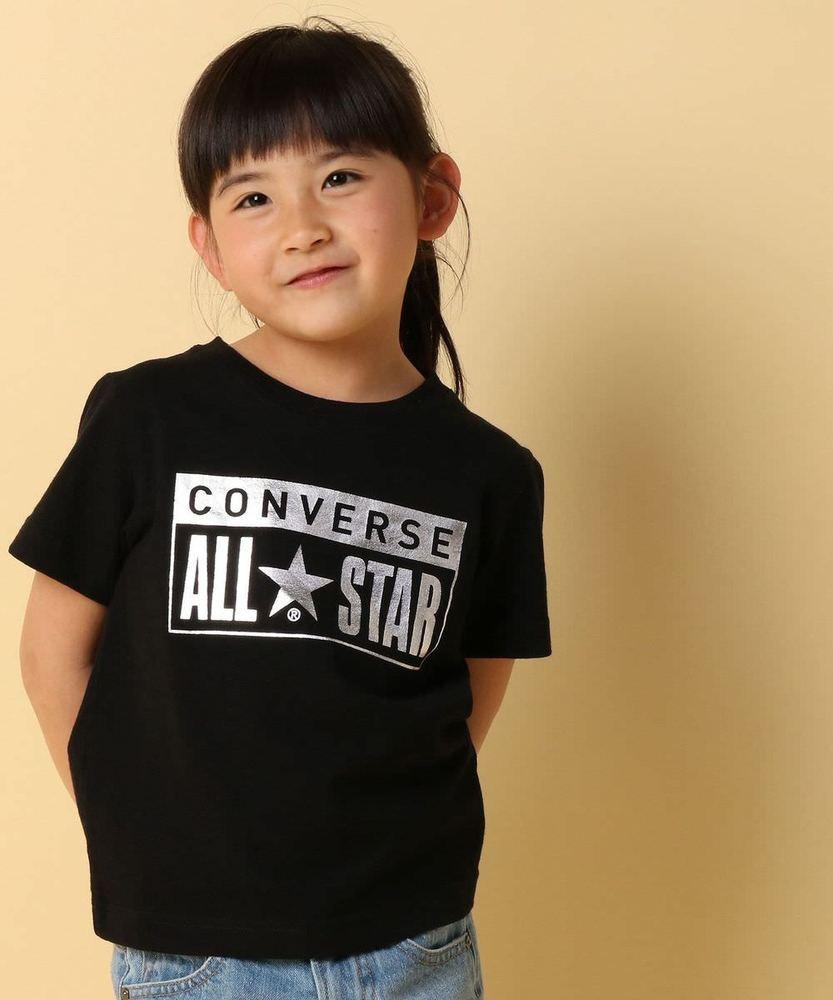 CONVERSE ボックスプリントTシャツ キッズ ブラック