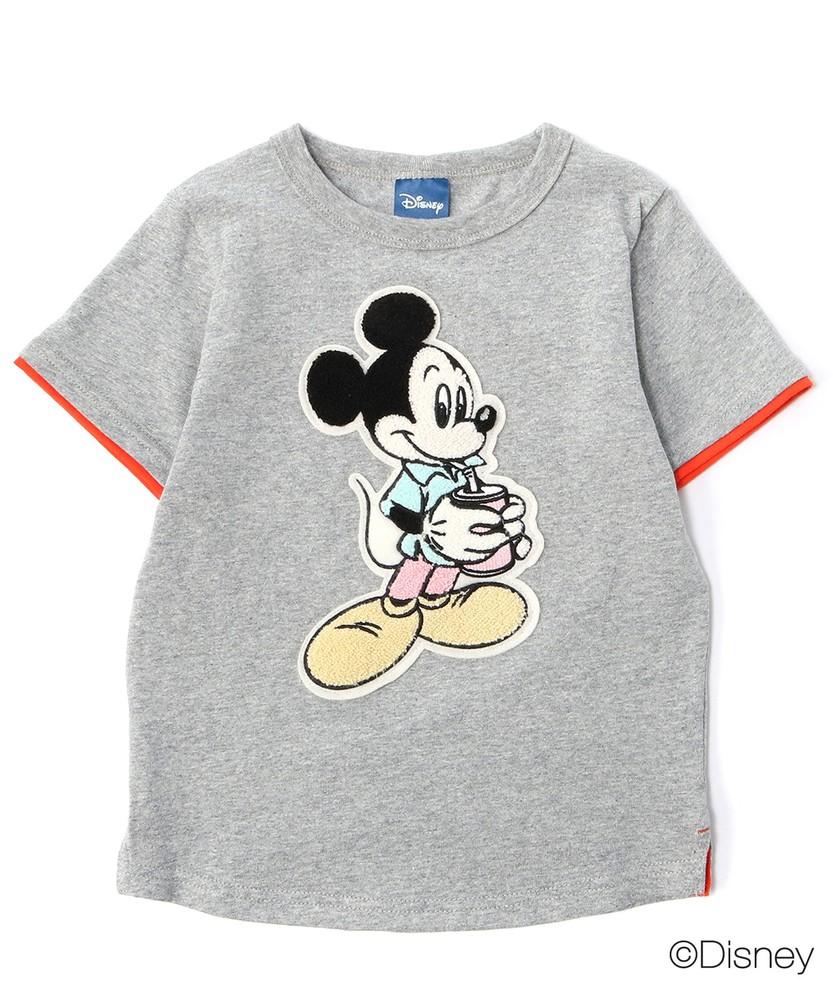DISNEY ドリンクミッキーマウスデザインTシャツ(ジュニアサイズ150・160cm) キッズ グレー
