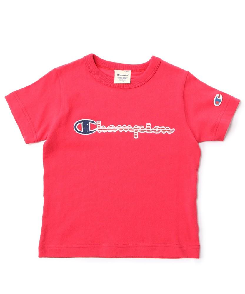 Champion ロゴアップリケTシャツ キッズ レッド