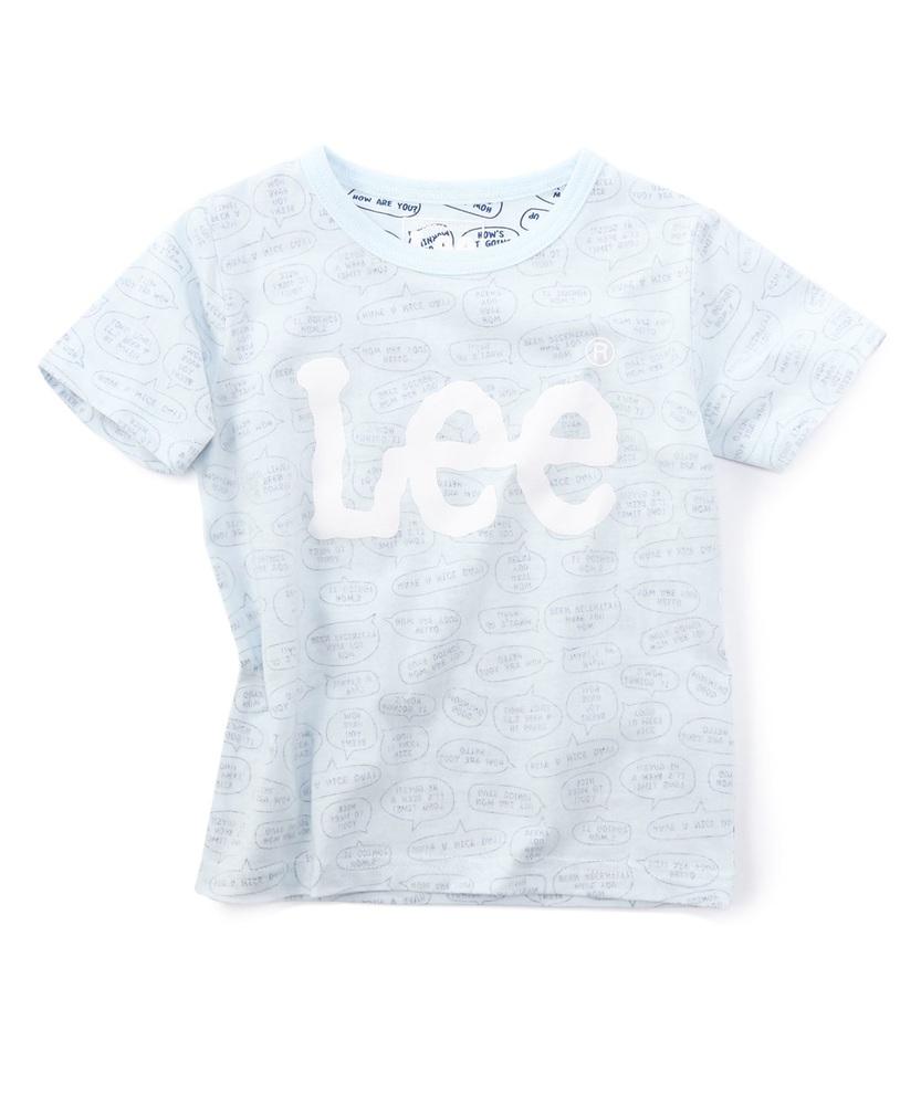Lee 吹出し総柄ロゴTシャツ キッズ サックス