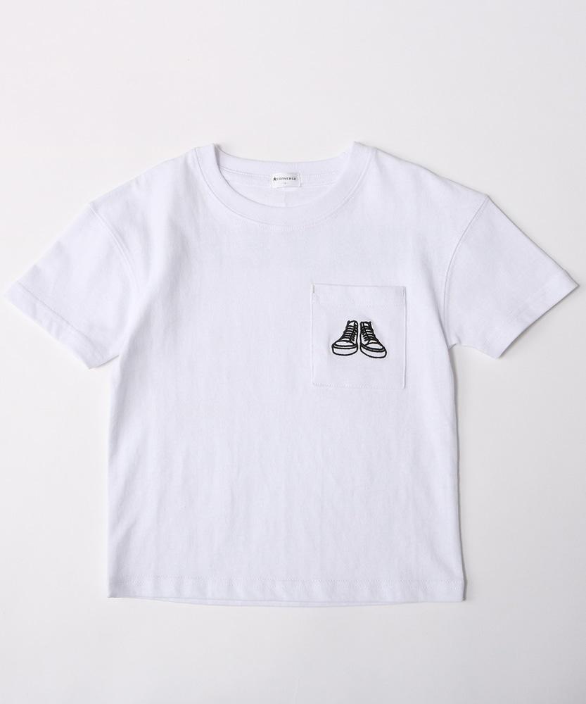 CONVERSE ポケット付きTシャツ キッズ オフシロ