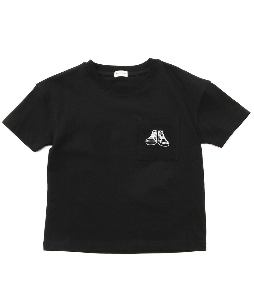 CONVERSE ポケット付きTシャツ キッズ ブラック