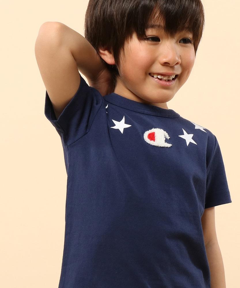 Champion 【WEB限定】星モチーフサガラTシャツ キッズ ネイビー