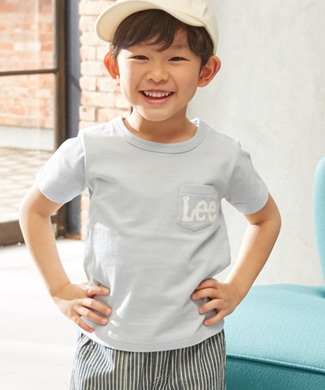 Lee 胸ロゴプリントTシャツ キッズ ブルー