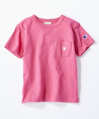 Champion ワンポイントポケット付きクルーネックTシャツ キッズ ショッキングピンク
