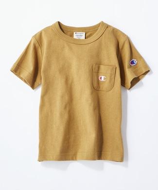 Champion ワンポイントポケット付きクルーネックTシャツ キッズ キナリ