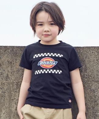 Dickies チェックロゴTシャツ キッズ ブラック