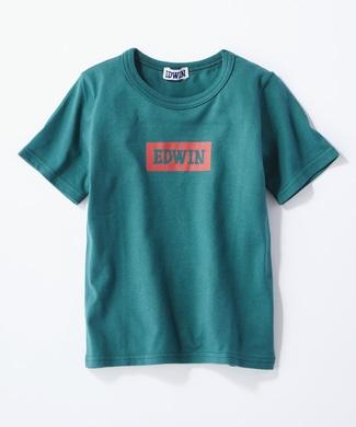 EDWIN 【予約】ボックスロゴTシャツ キッズ グリーン