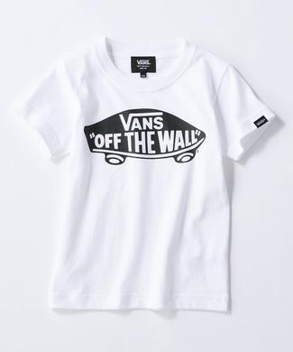 VANS ボードロゴプリントTシャツ キッズ ブラック*オフホワイト